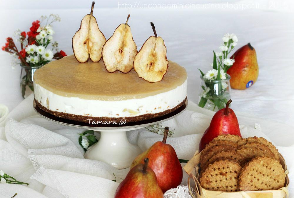 Un Condominio In Cucina Sembiante Di Cheesecake Alla Ricotta E Pere