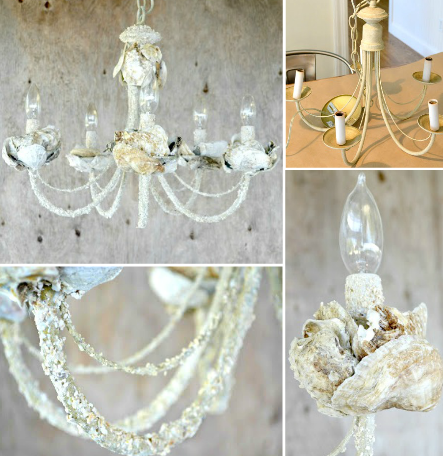 Diy shell chandeliers for Shell diy