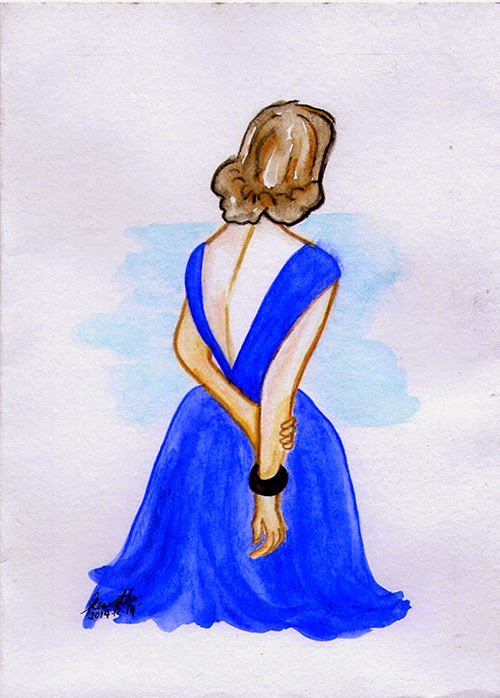 lady in blue gown back Forever 21 DKNY Topshop