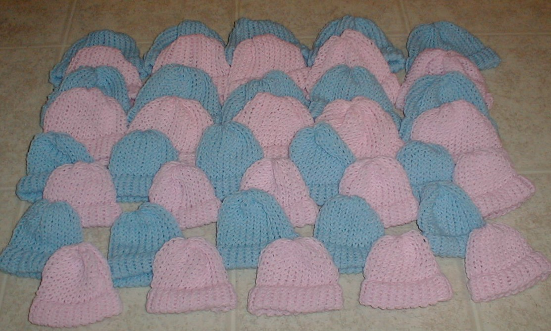 Karens Crocheted Garden Of Colors 40 Pink And Blue Baby Hats