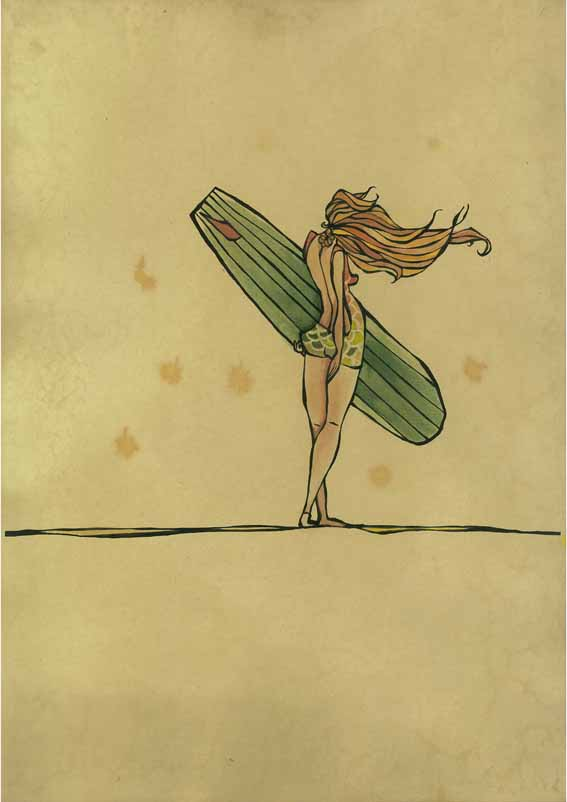 Drawing Lines Surf Movie : Ocean inspired art by surfer artist christie rigby
