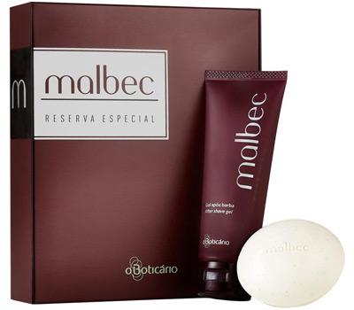 O Boticário Malbec Kit Gel Apos Barba e sabonete perfumado fragrância Malbec
