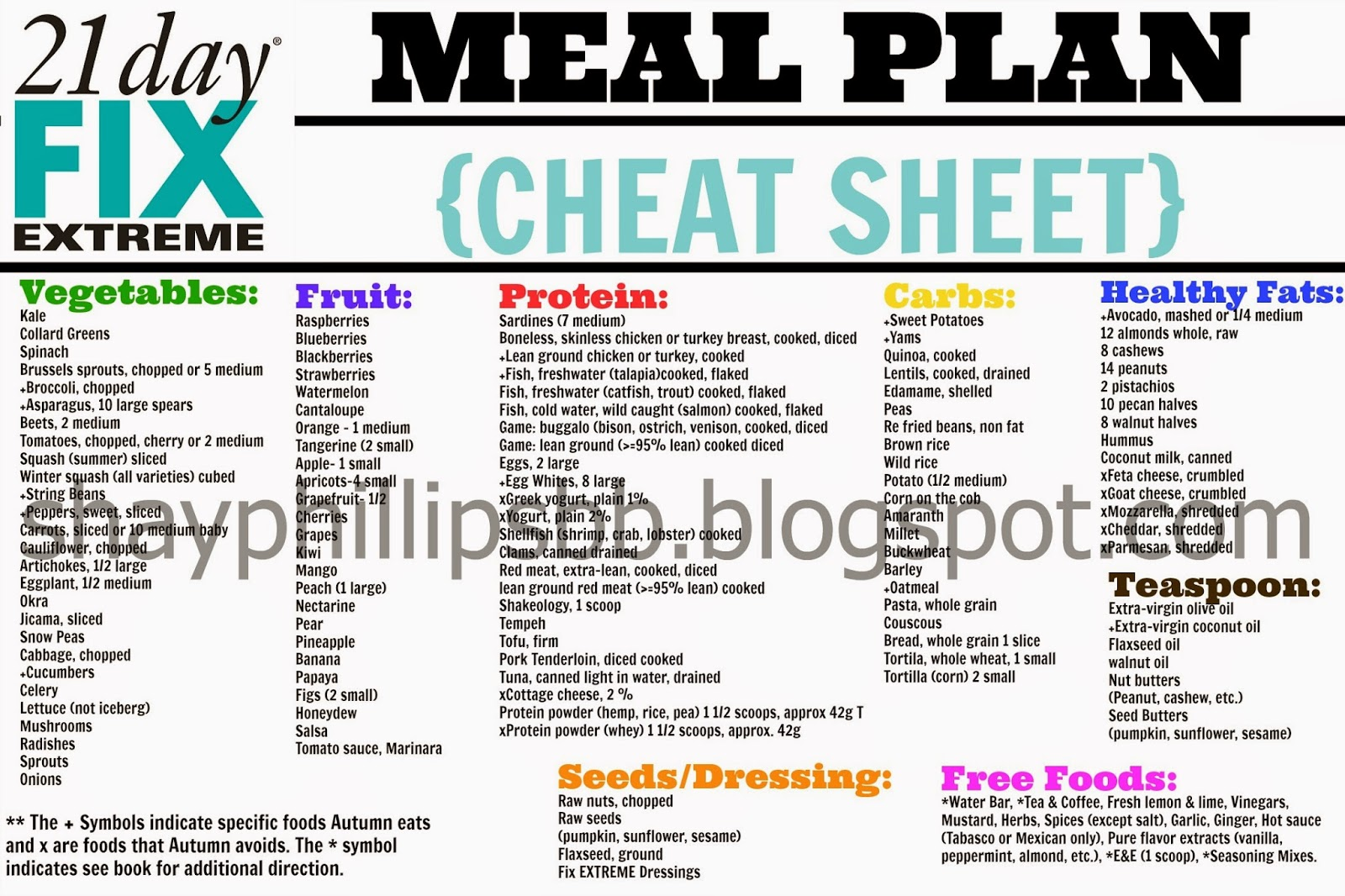 Shay phillips 21 day fix extreme meal plan