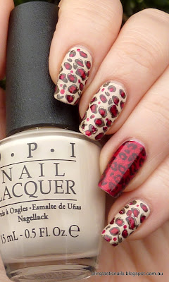 OPI My Vampire is Buff with China Glaze Ruby Pumps Leopard Print