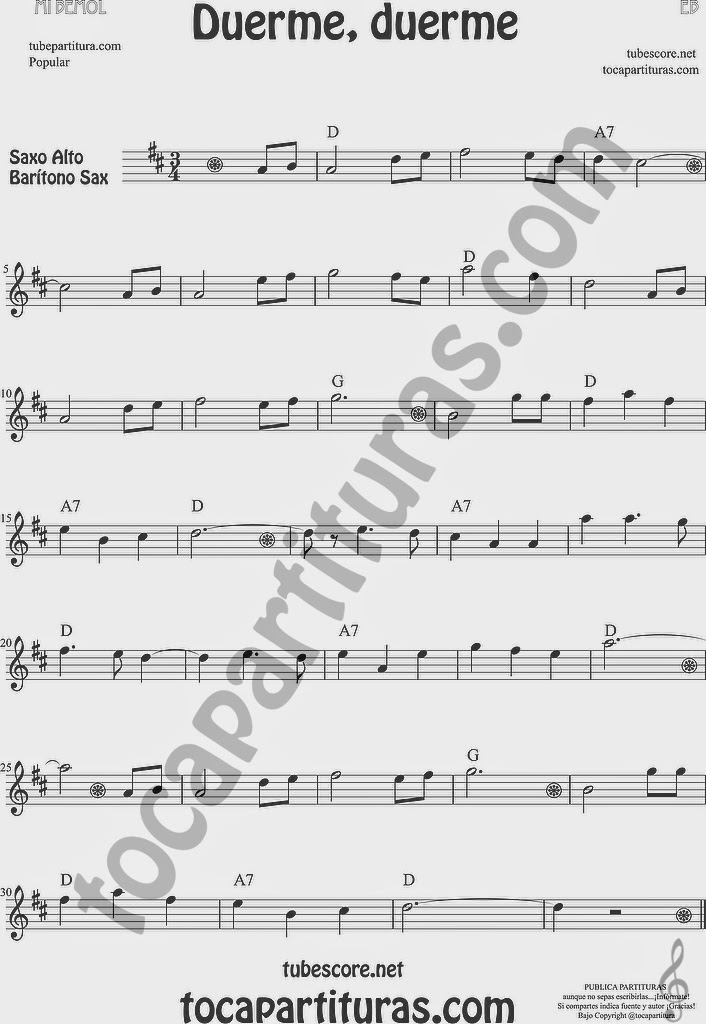 Duerme Duerme Partitura Popular de Saxofón Alto y Sax Barítono Sheet Music for Alto and Baritone Saxophone Music Scores (partitura en sol mayor arriba)