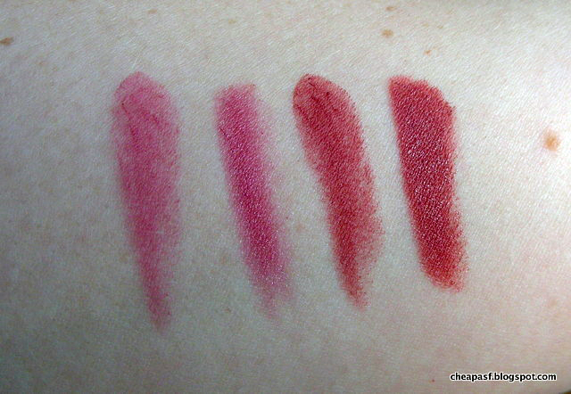 Swatches/dupes of Maybelline Color Sensational Creamy Matte in Lust for Blush vs ULTA Lip Crayon in Fashionista, and Maybelline Color Sensational Creamy Matte in Touch of Spice vs. Lord & Berry 20100 Lipstick Pencil in Intimacy