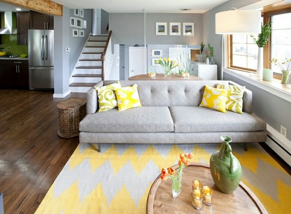 living room color scheme gray and yellow sofa bed