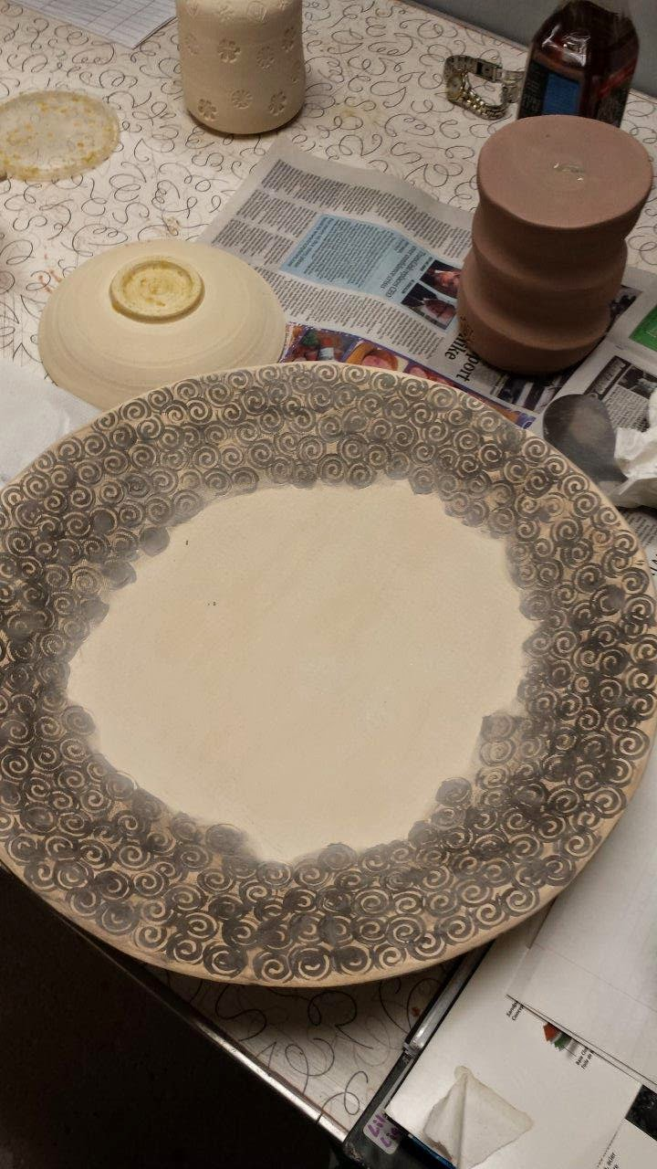 Ceramic stoneware slab built platter - not yet glazed and fired.
