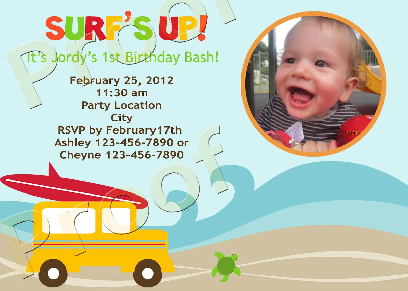 Fanci Prints by Tiffany: Surf\'s Up - Birthday Party Invitations