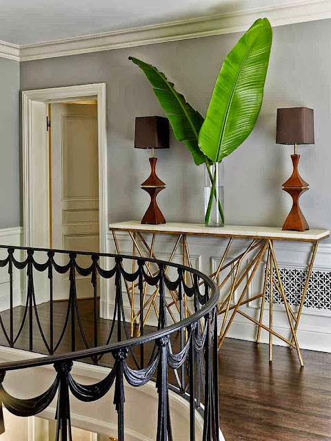 spiral staircase steel balustrades gold twig console table