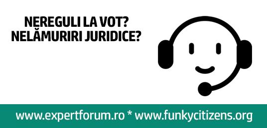 ună-ne la 0756.459.194 (Orange), 0720.273.334 (Vodafone), 0770.332.065 (Digi) sau pe Skype (ID votcorect) și întreabă-ne orice vrei despre legea electorală, cum raportezi nereguli sau ce trebuie să faci în ziua votului. Primim și sesizări vizavi de nereguli electorale prin formularul de pe www.expertforum.ro/votcorect/