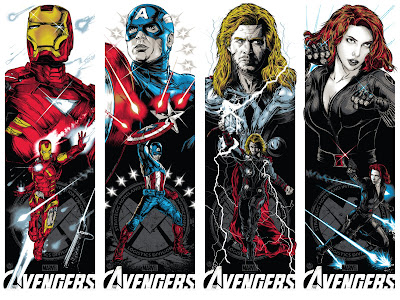 The Avengers Screen Print Series by Rhys Cooper - Iron Man, Captain America, Thor & Black Widow