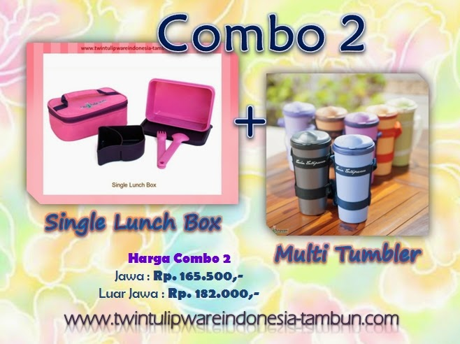 Promo Combo 2 Tulipware Tupperware - Pemilu 2014, Single Lunch Box, Multi Tumbler