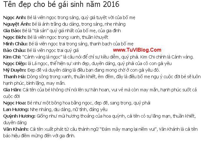 Ten Hay Cho Be Gai Sinh 2016