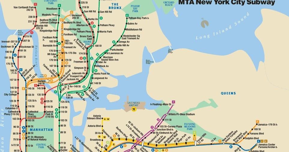new york city subway map printable new york city map