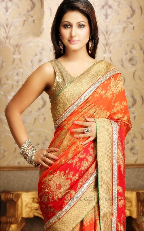 Hina-khan-orange-saree-lehenga-photos