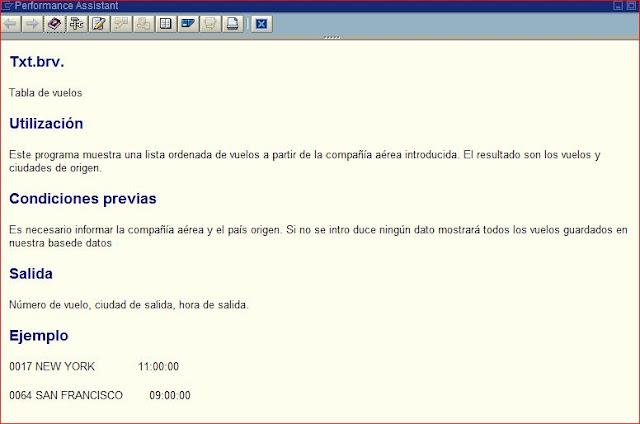 Ventana que muestra la documentación en el programa ABAP