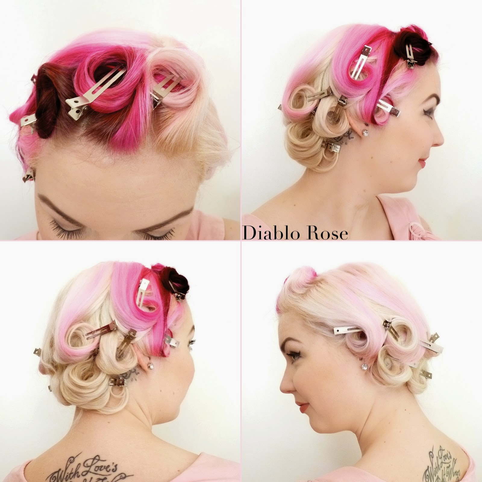 Follow the pin curl set below leave the curls to cool completely