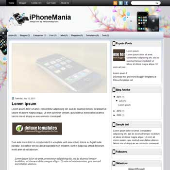 iPhoneMania blogger template. template blogspot magazine style. download iphone blogger template