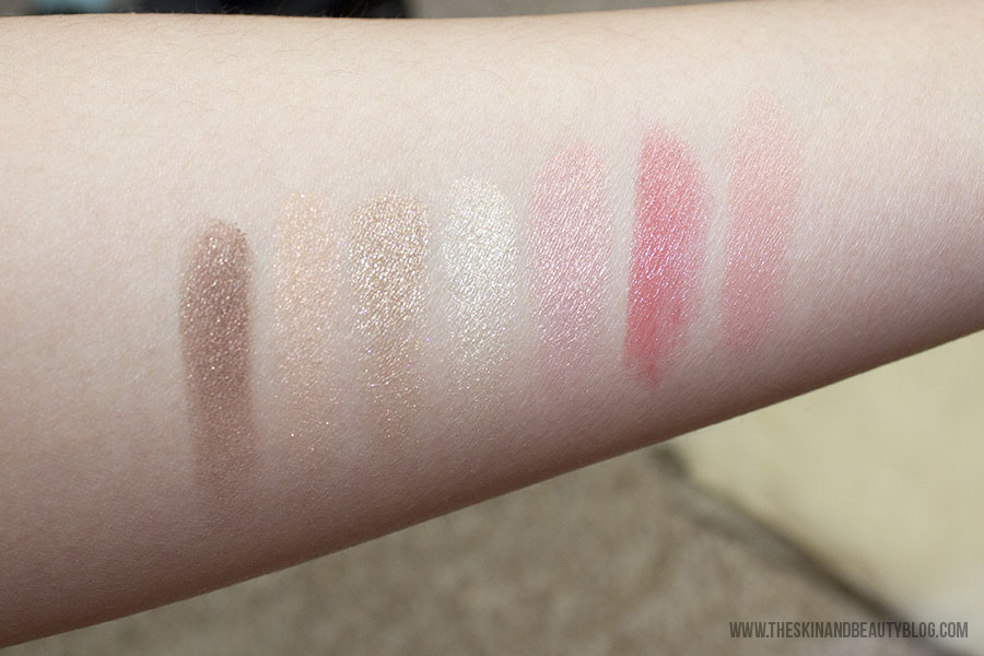 Swatches. From L to R: MAC Golden Hours Eyeshadow Quad, MAC Petal Power Blush, MAC Dreaming Dahlia Lipstick, MAC Fleur D'Coral Lipstick