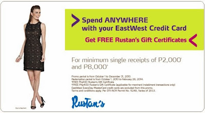 EastWest Bank Credit Card Promo, FREE Rustan's Gift Certificates