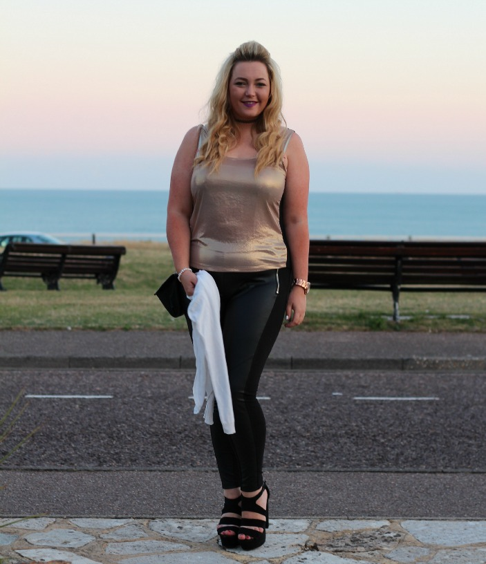 Metallic gold topshop vest top, H&M leather panel leggings, primark white cardigan basic, michael kors watch, tattoo choker, new look platform sandals, outfit