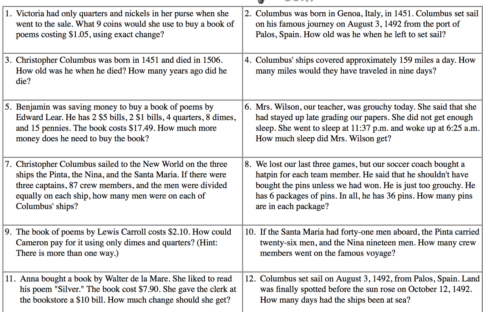 4th Graders!: 4th Grade Word Problems of the Week
