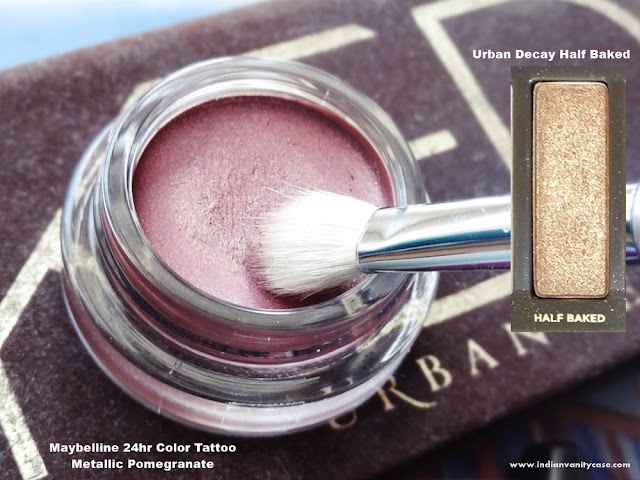 Indian vanity case 2 in 1 eye makeup tutorial metallic for Maybelline color tattoo in pomegranate punk