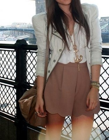 Golden anchor necklace, blazer and skirt for summers