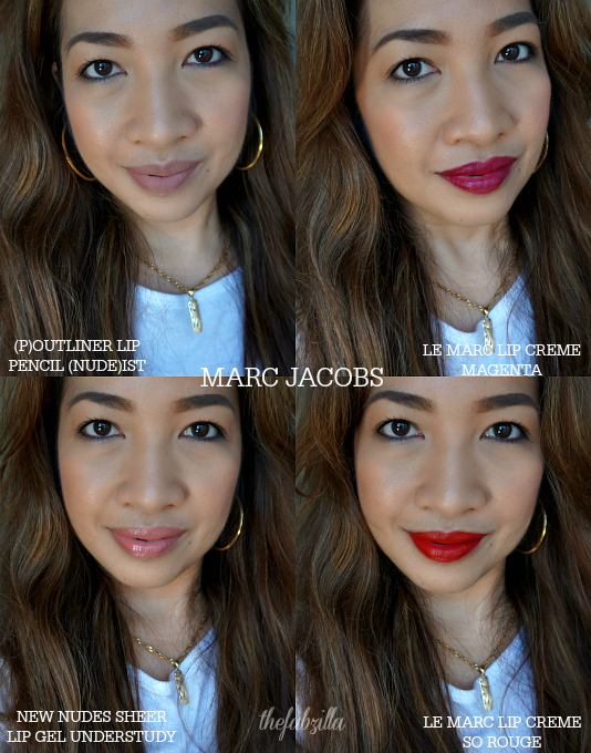 Marc Jacobs Le Marc Lip Creme, Marc Jacobs New Nudes Lip Sheer Gel, Marc Jacobs (P)Outliner Longwear Lip Pencil, So Rouge VIB, Review, Swatch, Photos, Spring 2015