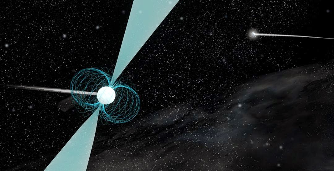 Artist's impression of pulsar PSR J1930-1852 shown in orbit around a companion neutron star. Discovered by a team of high school students, this pulsar has the widest orbit ever observed around another neutron star. Credit: B. Saxton (NRAO/AUI/NSF)