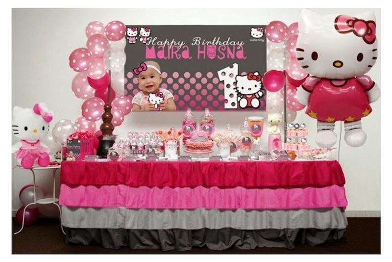 10 ide dekorasi ulang tahun anak perempuan tema hello for Dekor ulang tahun