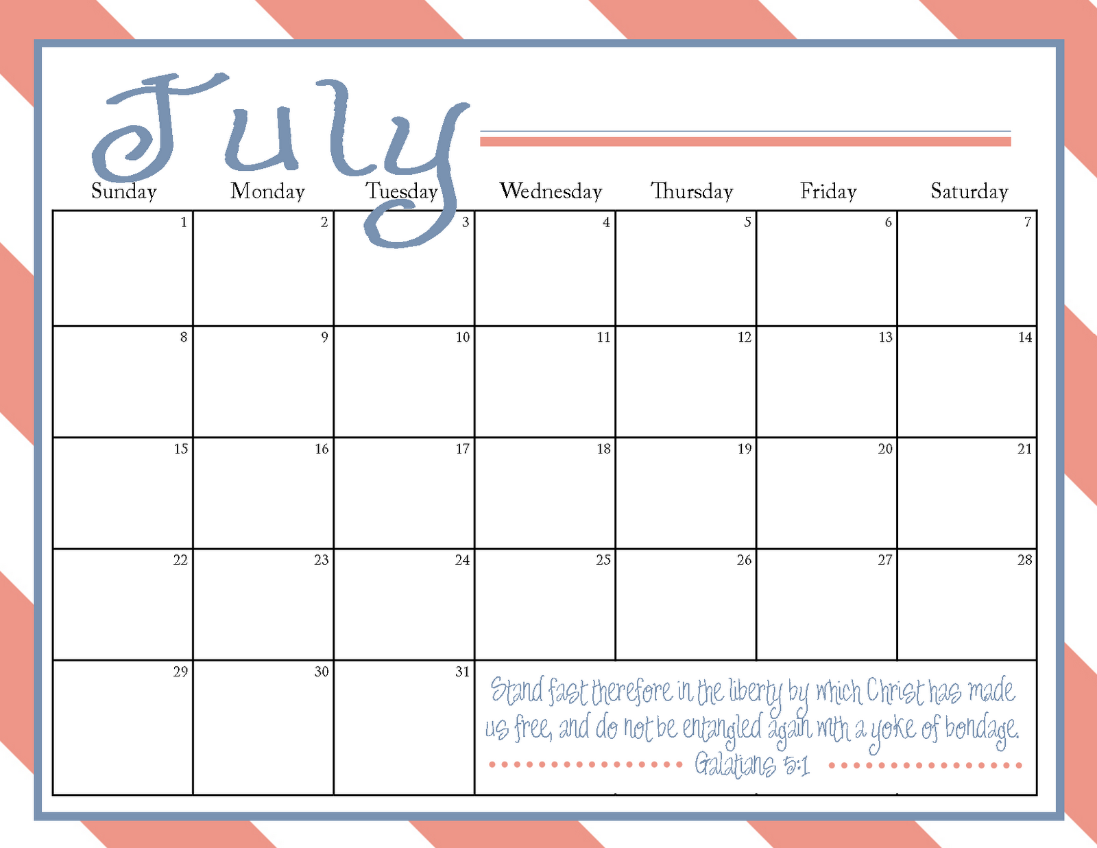 The Blogging Pastors Wife: Printable July 2012 Calendar