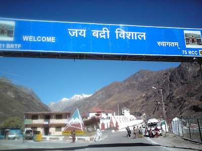 The regional boards welcomes us to the holy town of Badrinath