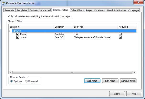 filtr elementów przy generowaniu raportu