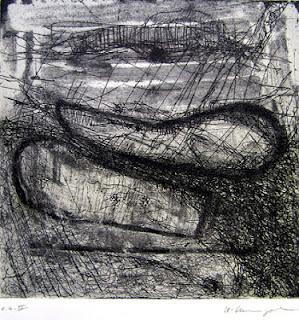 """Uschi Krempel:""""Fundstücke"""",  e.a.II, Farbradierung auf Kupferdruckpapier, 21 x 21 cm, 2012"""