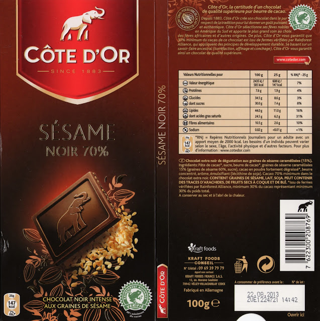 tablette de chocolat noir gourmand côte d'or sésame noir 70