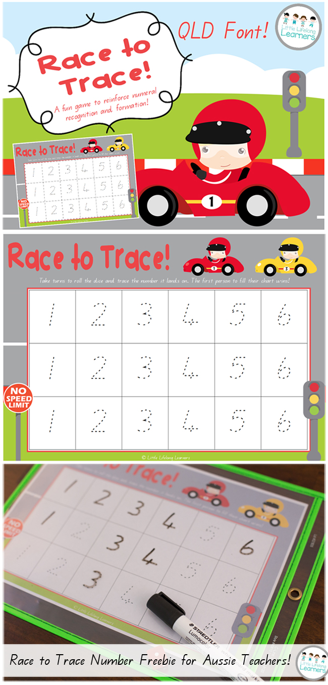 https://www.teacherspayteachers.com/Product/Race-to-Trace-Numeral-Recognition-and-Formation-QLD-FONT-1951300