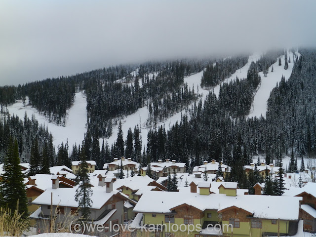 Several ski runs converge into the village of Sun Peaks
