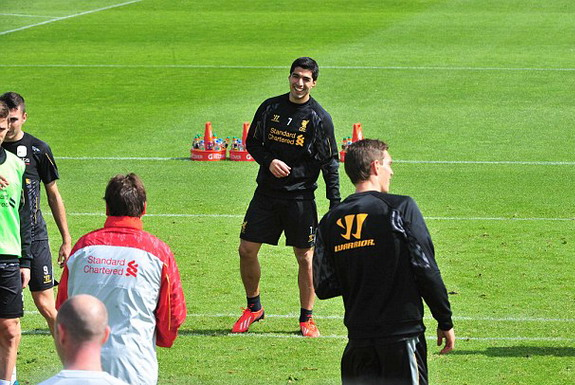 He can't play for another few months but Luis Suárez is back in Liverpool first-team fold