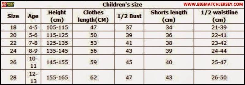 Ukuran Size Jersey Kids atau Setelan Anak-anak Grade Original