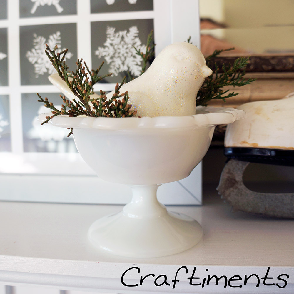 Craftiments:  Bird in milk glass candy dish