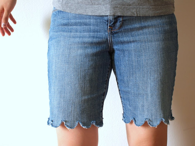 DIY Scalloped Jean Shorts