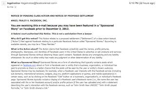 Facebook Class Action Settlement Email