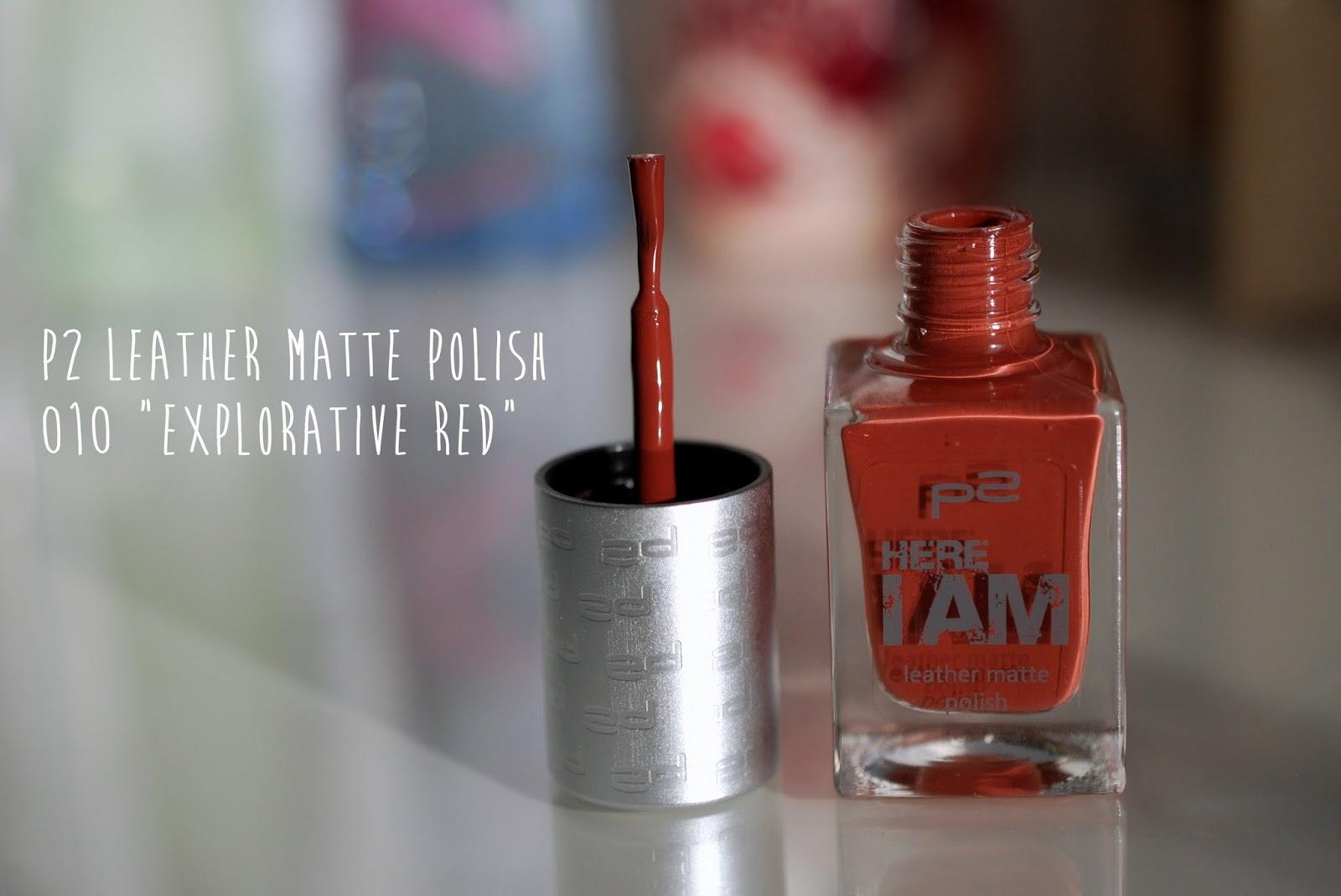 "p2 leather matte polish 010 ""explorative red"""