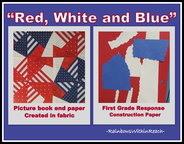 "photo of: ""Red, White and Blue"" First Grade Response to Picture Book Art"
