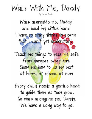 Walk with me Daddy poem keepsake