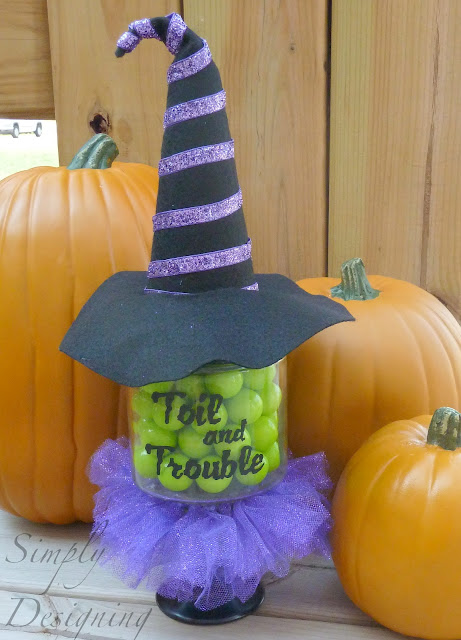 Wickedly Witchy Candy Jar - Toil and Trouble - tutorial on how to make this really cute witch-inspired pedestal candy jar - perfect for Halloween | Simply Designing | #witch #halloween #candy #diy #craft