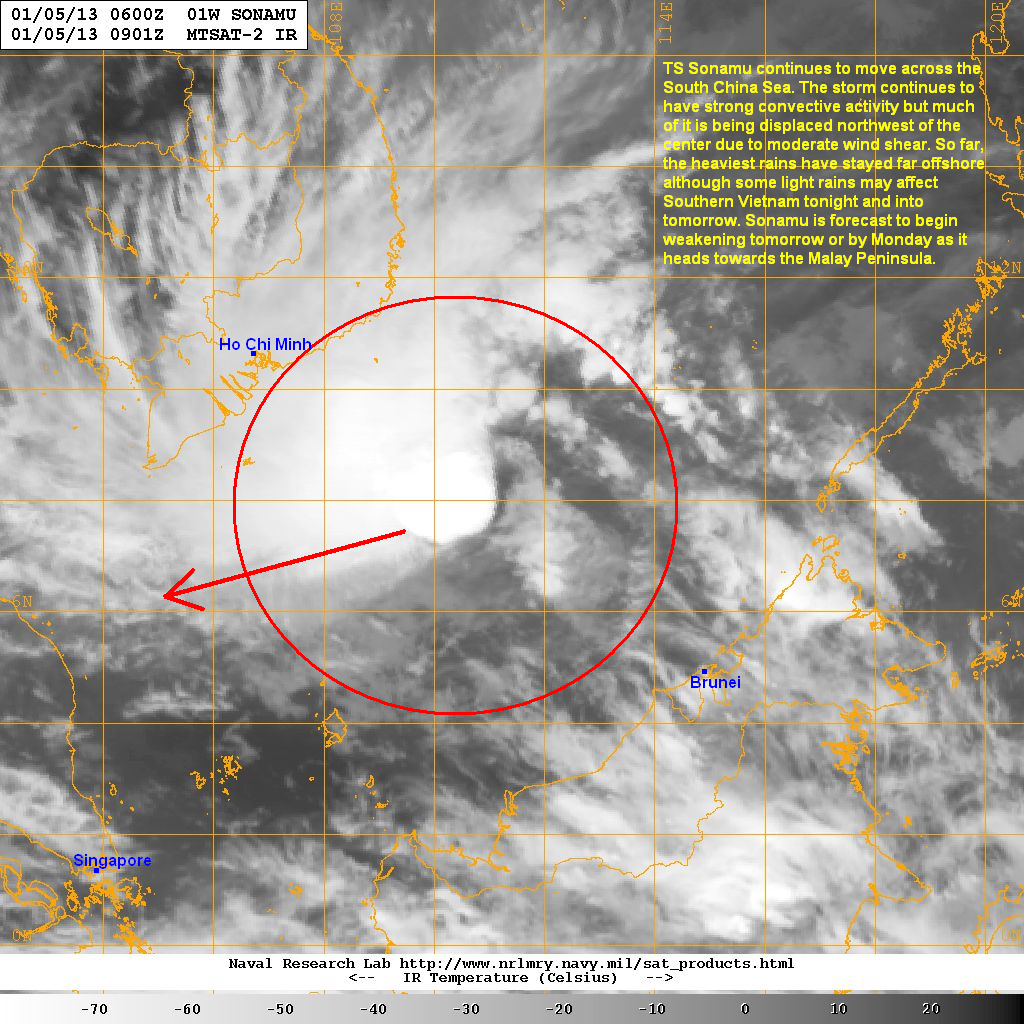nevertheless strong convective with cold cloud tops remain near the center of the storm