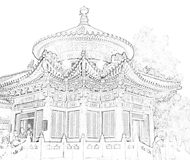 sketch of chinese architecture building
